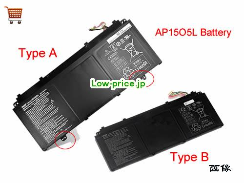 ACER AP15O5L  バッテリー 4670mAh, 53Wh  11.55V Black Li-ion